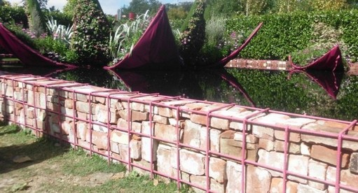 Brick Gabion Water Garden Wall