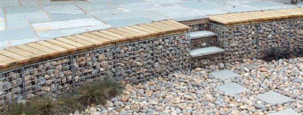gabion curved decorative stone wall