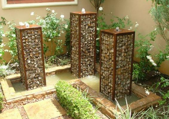 gabion stone garden water feature