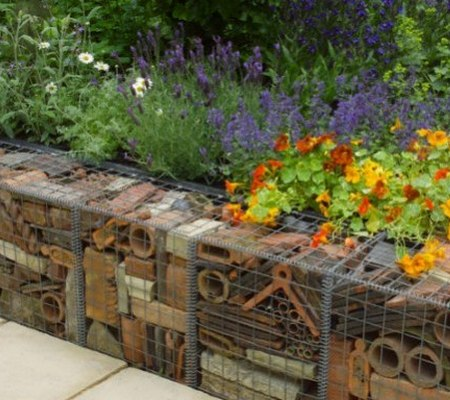 recycled gabion brick wall