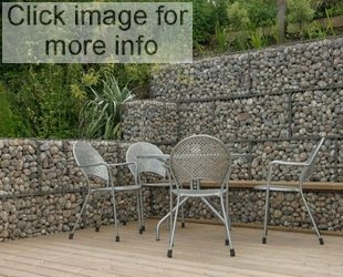 gabion walled patio