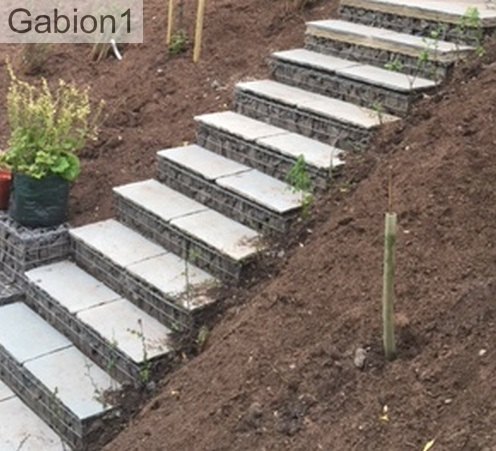 gabion steps with paver treads