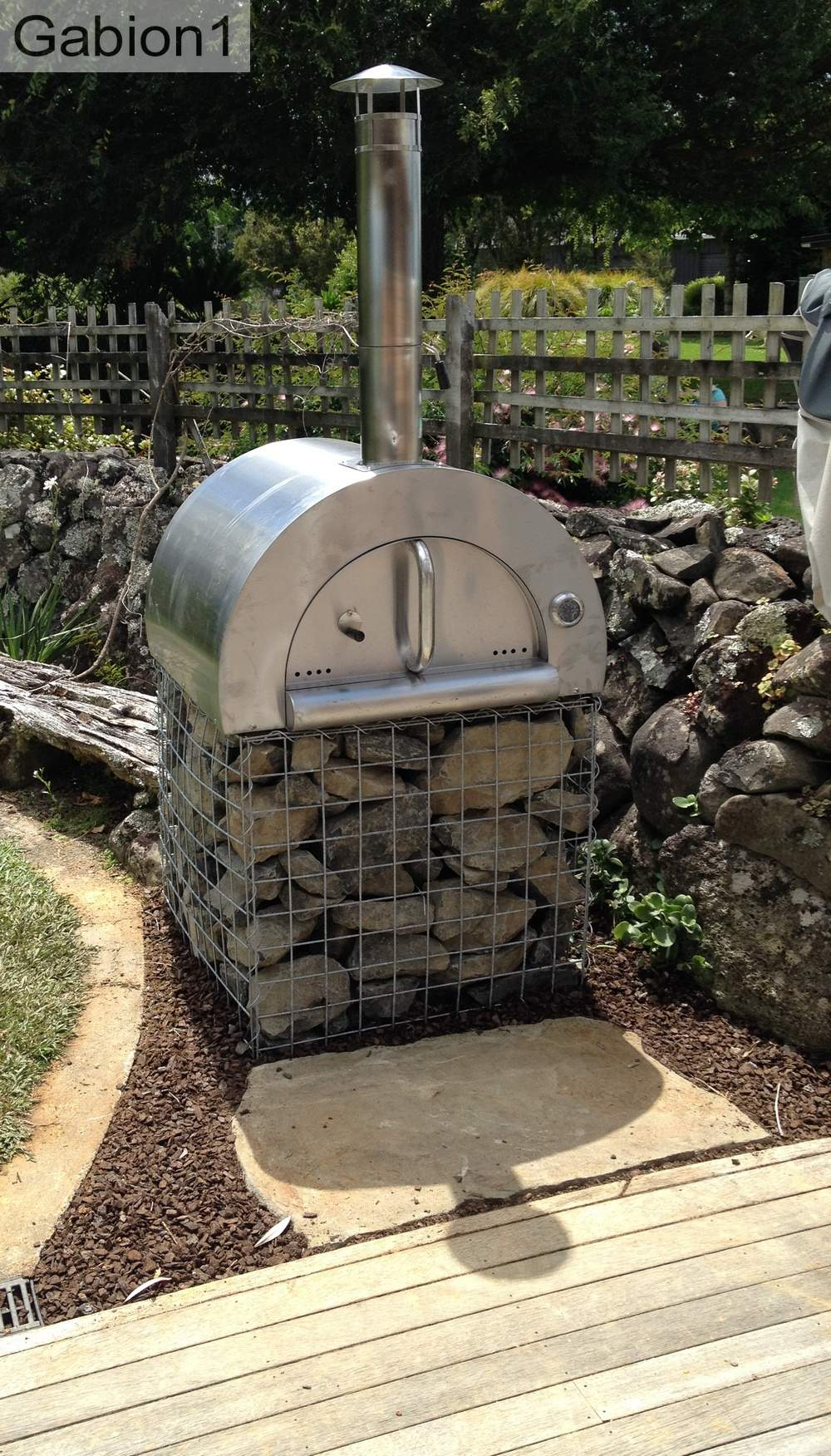 small gabion pizza oven base