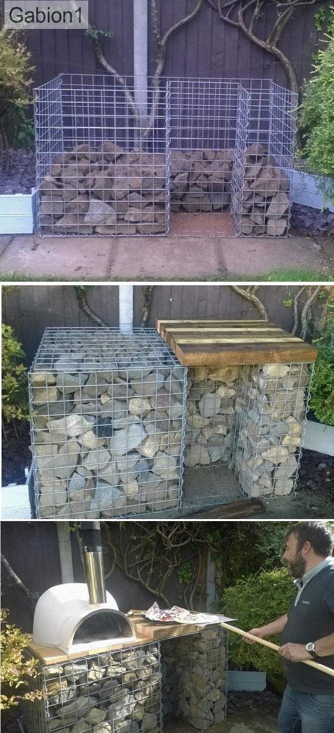 gabion pizza oven base design