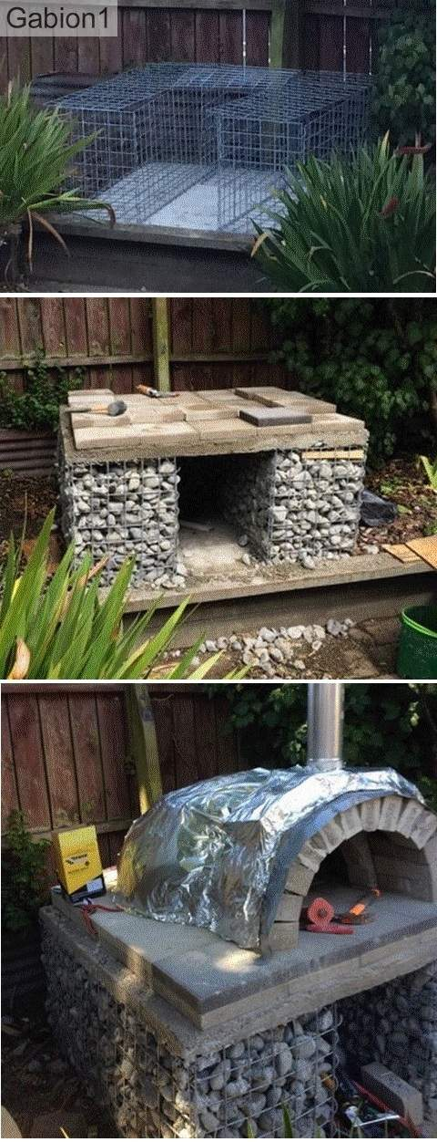 gabion pizza oven base construction