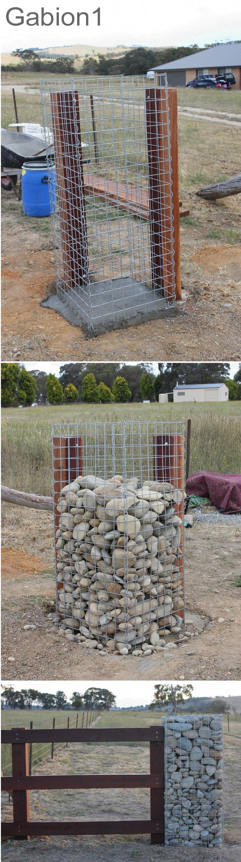 gabion gate column detail