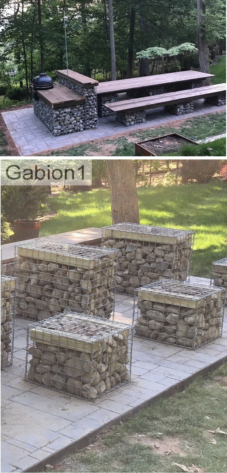 gabion outdoor seating area