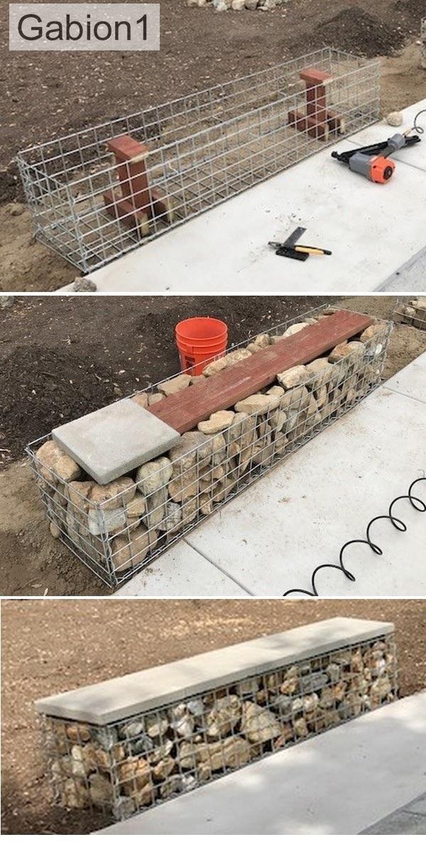 gabion paver seat install