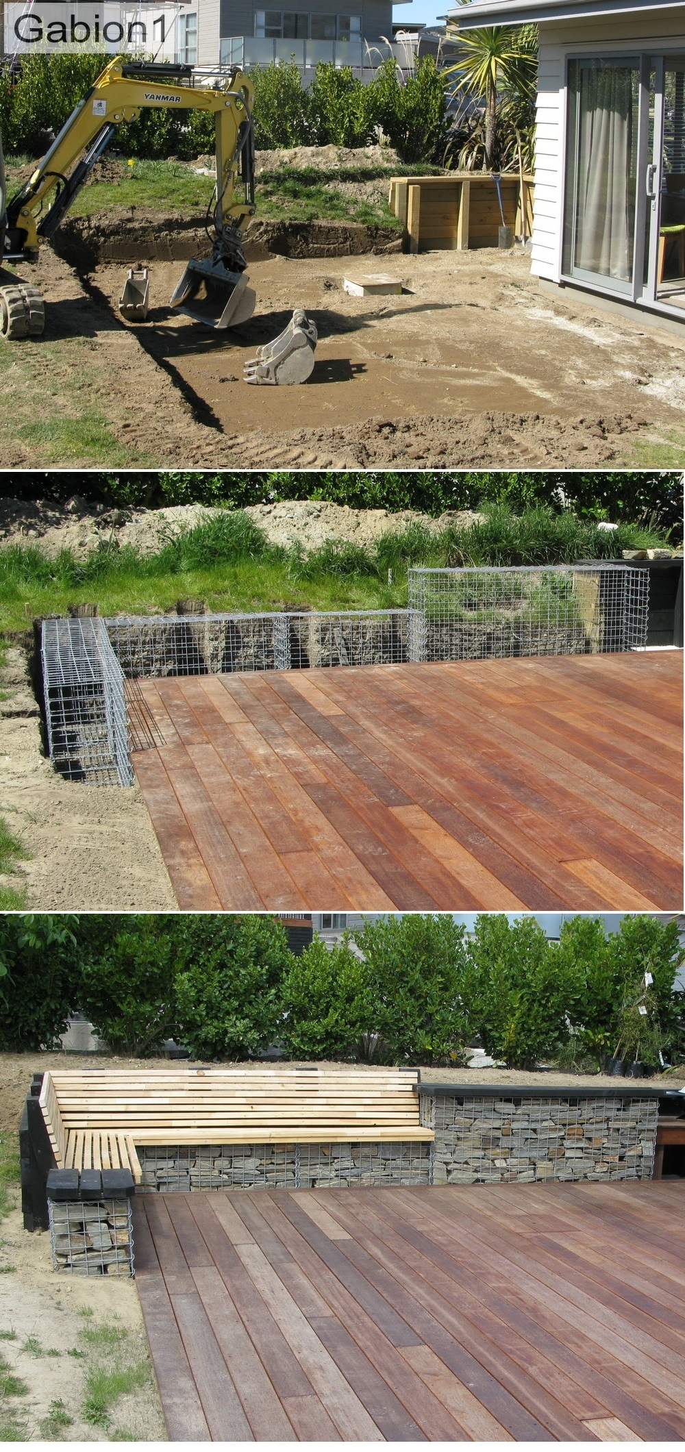 gabion deck seat construction