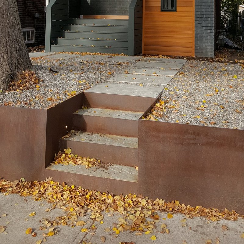 corten retaining and steps