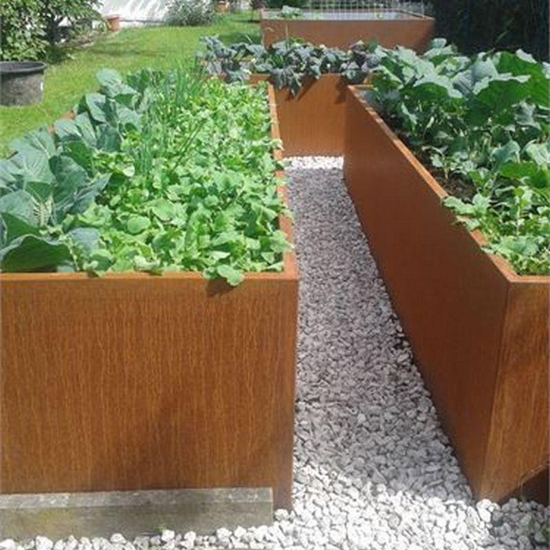 small corten garden wall