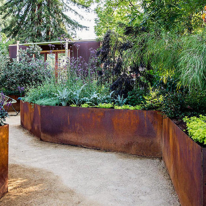 small corten retaining wall