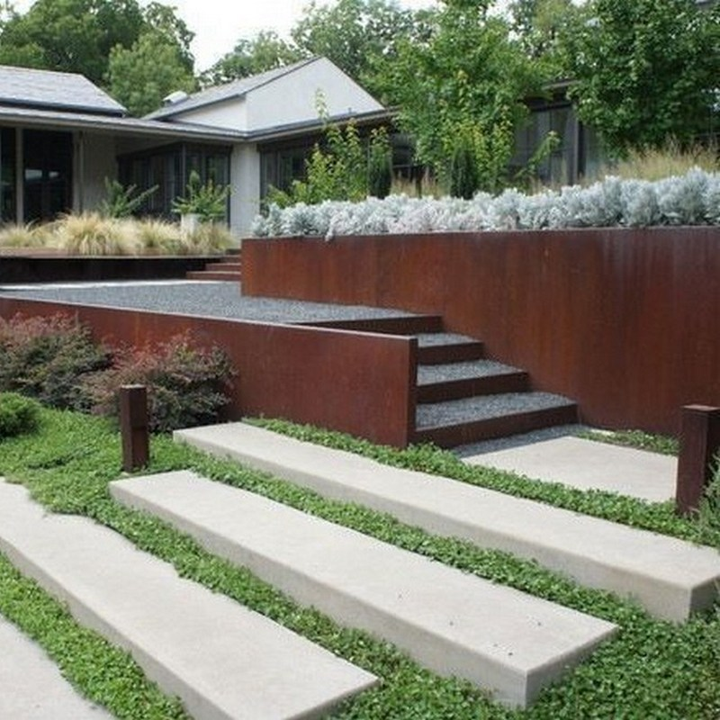corten retaining and fence